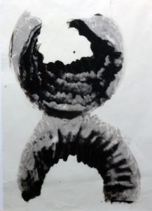 palladium print - shell imagery based on scallop shells found in Maine by Alice Garik