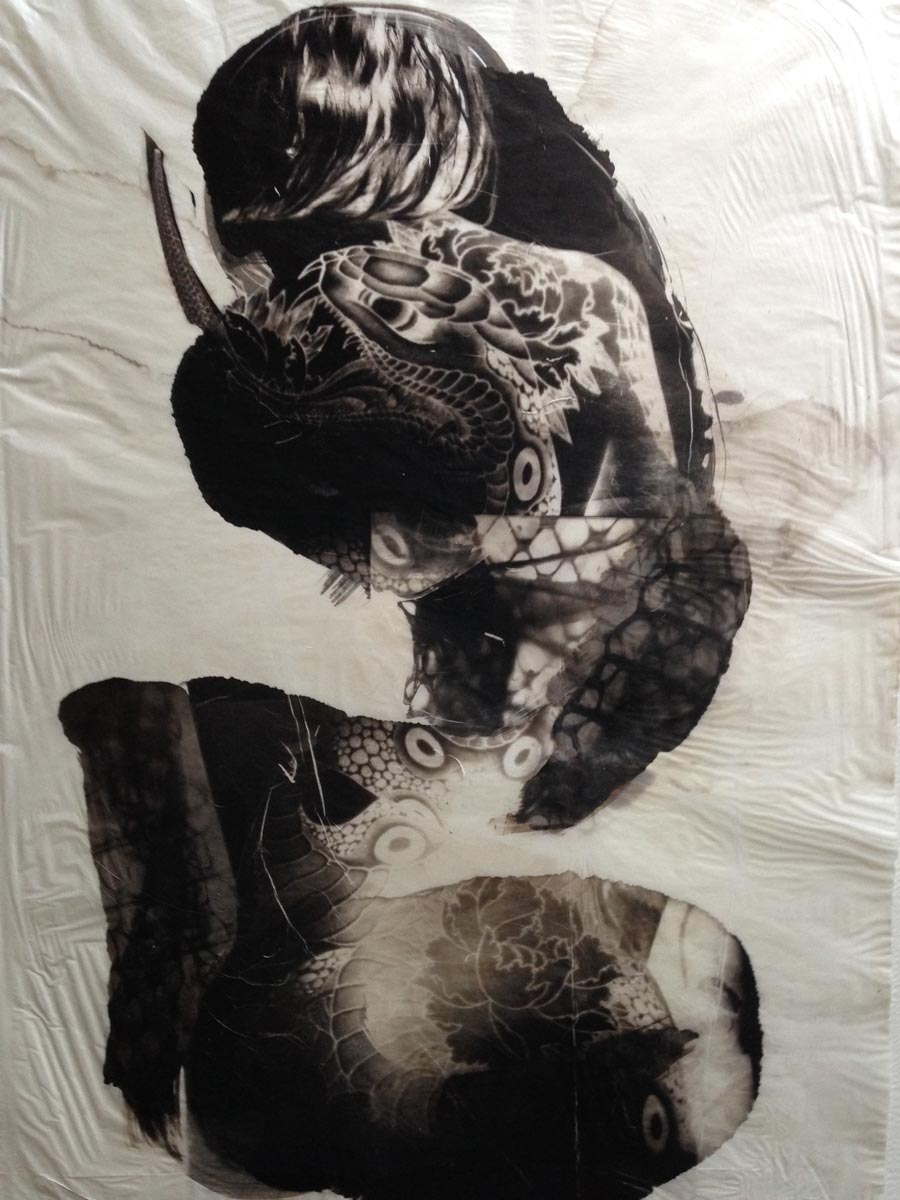 palladium print - abstract image of snake tattoo with snake skins by Alice Garik
