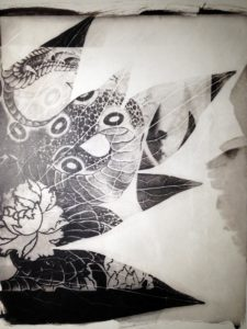 palladium print - abstract image of snake tattoo and a peony flower by Alice Garik