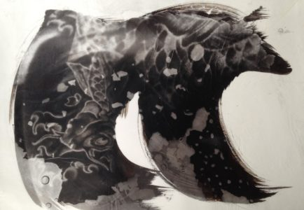 palladium print - abstract image of a koi fish tattoo in the shape of a wave by Alice Garik