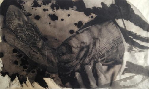 palladium print - abstract image of tattooed arm and seaweed by Alice Garik