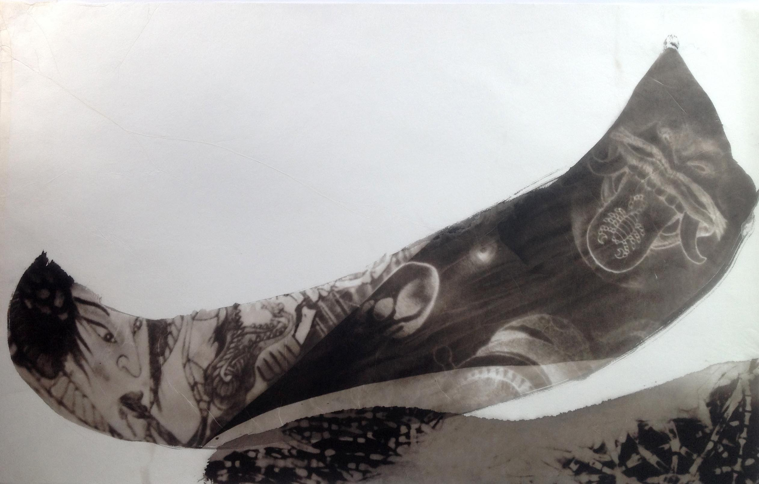 palladium print - abstract image of tattoos shaped in the form of a boat by Alice Garik