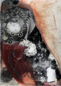 A woman with a serpent tattoo on her back is collaged with butterfly wings in palladium and red and orange watercolor.