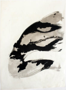 Palladium print formed by the brushstrokes in a wave pattern and printed using negatives of seaweed.
