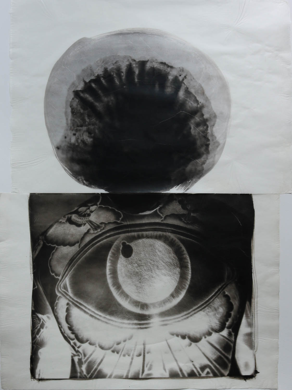 A diptych of a shell symbolizing a storm cloud placed on top of a man's tattooed back with storm winds and a large eye tattooed on him.